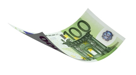 euro banknote: Flying 100 euro banknote money on a white background  Stock Photo