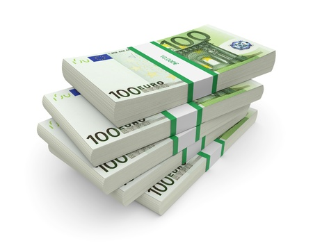 50 euro: Euro currency stacks on a white background  3d image Stock Photo