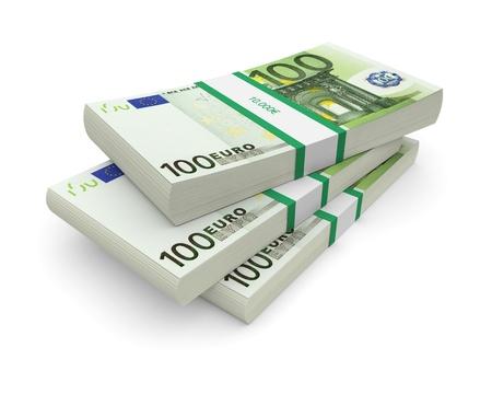 dinero euros: Pilas de monedas de euro en un fondo blanco imagen 3D Foto de archivo