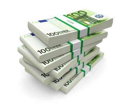 credit union: Euro currency stacks on a white background  3d image Stock Photo