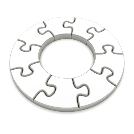 full frame: Jigsaw puzzle circle on a white background  3d image