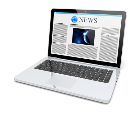Laptop with news page on a screen  Technology and science concept  3d image  Stock Photo - 20012942
