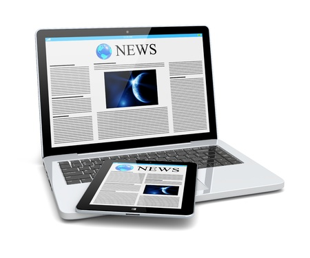 Laptop and tablet pc computer with news page on a screen  Technology and science concept  3d image Stock Photo - 20012944