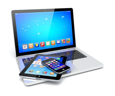 Laptop, tablet pc computer and mobile smartphone with a blue background and colorful apps on a screen  Isolated on a white  3d image