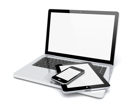 Laptop, tablet pc computer and mobile smartphone with a blank screen  Isolated on a white  3d image  Фото со стока