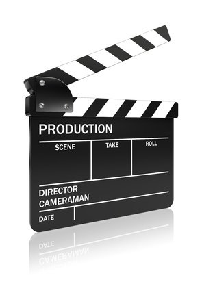 filming: Black film slate clapper on a white background. 3d image Stock Photo