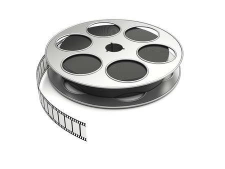 action movie: Film reel on a white background. 3d image