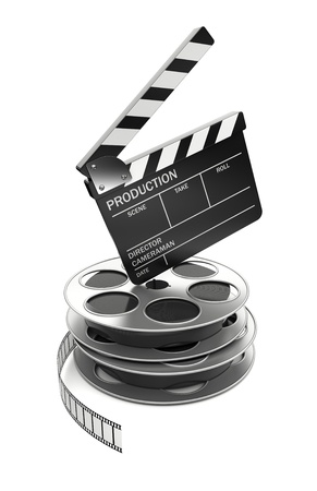 cinematographer: Cinema and video industry concept. Slate board standing on film reel. 3d rendered image Stock Photo