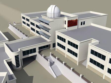 escuela edificio: Arquitectura 3d dibujo del edificio de la escuela con un observatorio Foto de archivo