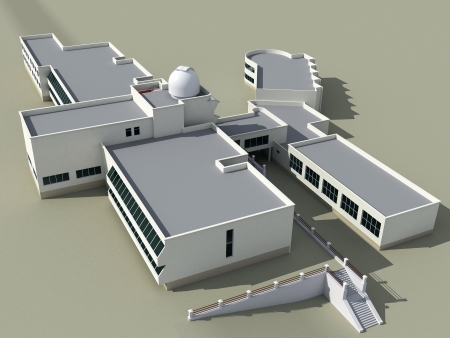 campus: Architecture 3d sketch of the school building with an observatory Stock Photo