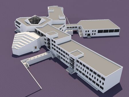 campus: Architecture 3d sketch of the school building Stock Photo