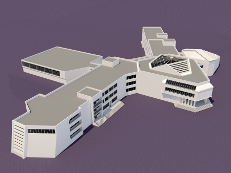 Architecture 3d sketch of the school building Stock Photo - 20821343