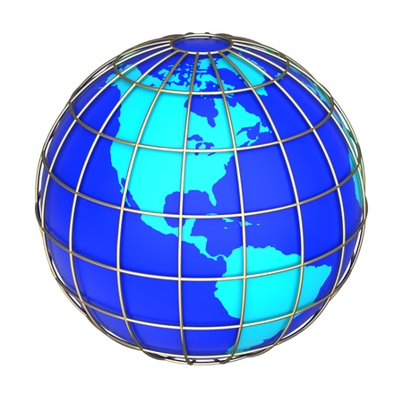 the americas: Earth globe icon on a white background. Side of North and South America continents
