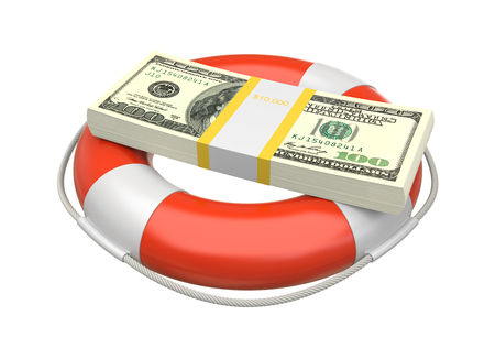 Dollar bill stack in lifebuoy. Business concept. 3d image photo