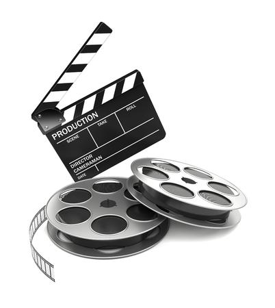 cinta pelicula: Cine y concepto de la industria video. Tarjeta de la pizarra y el rollo de pel�cula. Imagen 3D Foto de archivo