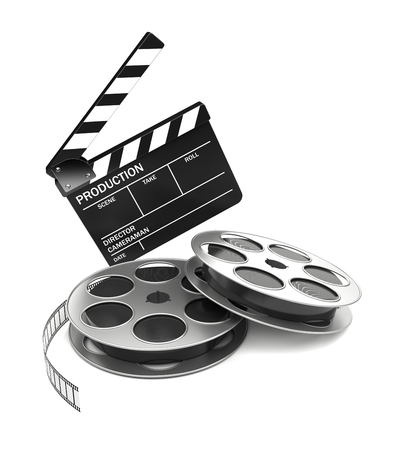 film camera: Cinema and video industry concept. Slate board and film reel. 3d rendered image Stock Photo