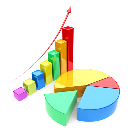 Business improvement concept.  Finance 3d growth graph and pie chart on a white background. photo