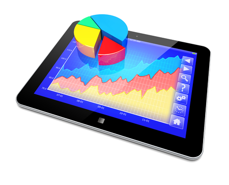 Business improvement and finance success analyzing concept. Tablet PC with pie chart and growth diagram on a screen. 3d image  photo