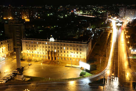 Chisinau in night. The capital of the Europe state Moldova