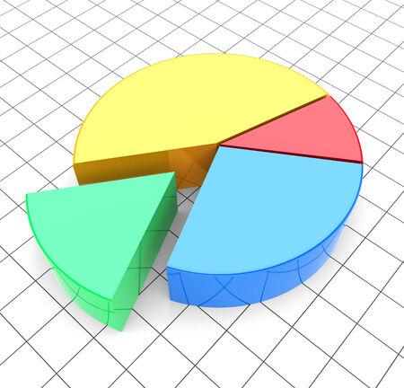 analyzing: Pie chart analyzing. 3d image