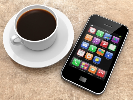 Mobile smartphone with app icons on a screen and coffee cup lying on a wooden table. 3d image photo