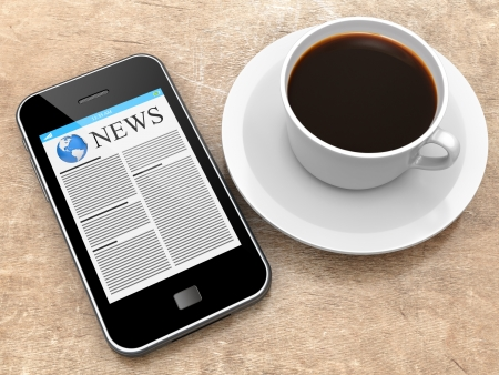 Mobile smartphone with newspaper on a screen and coffee cup lying on a wooden table. 3d image photo