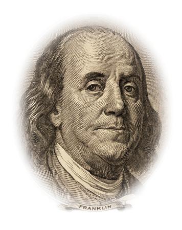 benjamin franklin: Portrait of Benjamin Franklin on the 100 dollar bill money