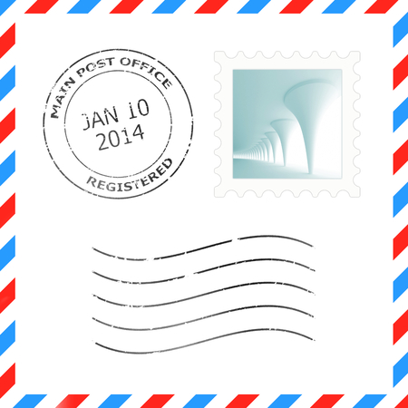 postmark: Postage stamp and postmark for a letter envelope illustrations Stock Photo