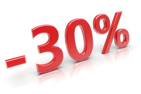 30 percent sale discount. 3d image Stock Photo