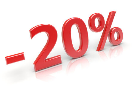 20 percent sale discount. 3d image photo