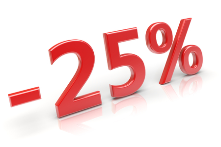 25 percent sale discount. 3d image photo
