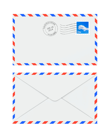 postmark: Isolated letter envelope with postage stamp and postmark