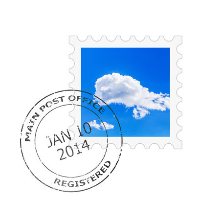postmark: Postage stamp and postmark for a letter envelope