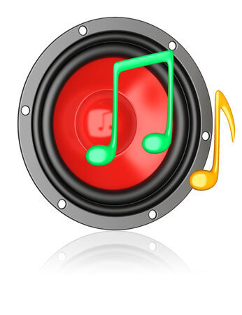 musik: Musik apps icon. Red speaker with a colorful notes Stock Photo