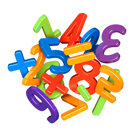 A heap of colorful numbers icon. Mathematics, statistics and counting concept Stock Photo