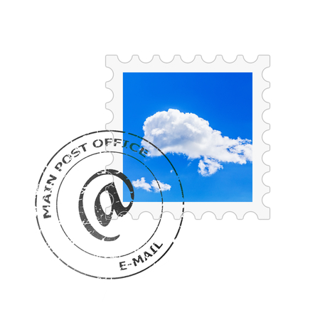 postmark: Postage stamp and postmark for e-mail letter envelope