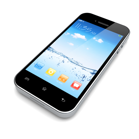 Mobile smart phone with water and sky wallpaper and colorful apps on a screen.  Stock Photo