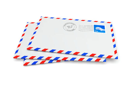 postmark: Isolated mail envelopes with postage stamp and postmark Stock Photo
