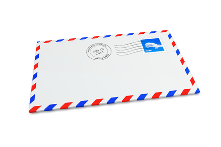 postmark: Isolated mail envelope with postage stamp and postmark