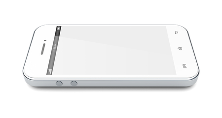 White mobile smartphone with blank screen. 3d image photo