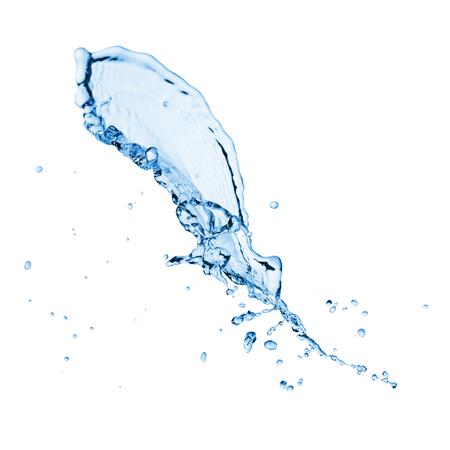 agua splash: Claro salpicaduras de agua azul con gotas. Aislado en un blanco