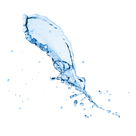 cold water: Clear blue water splash with drops. Isolated on a white Stock Photo