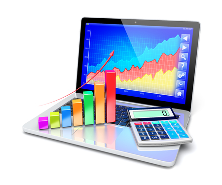 calculator money: Business improvement and finance success analyzing concept.