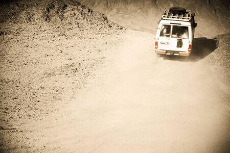 sinai desert: 4x4 off-road. Egypt. Sinai desert. In the style of an old photo