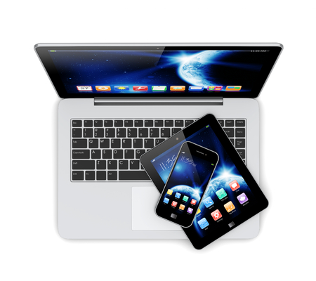 smartphone apps: Laptop, tablet pc computer and mobile smartphone with space dawn wallpaper and apps on a screen.
