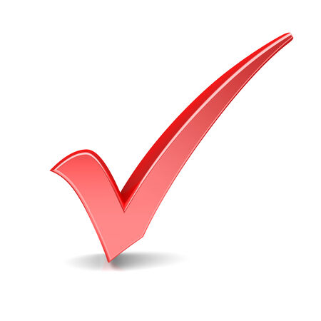elect: Red check mark on a white background Stock Photo