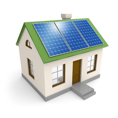 Haus mit Strom Sonnenkollektoren auf dem Dach. Grüne Umwelt Ökologie und alternative Energieindustrie Konzept