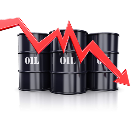 down arrow: Falling oil price. Red arrow graph chart moving down near the barrels with oil. 3d illustration Stock Photo