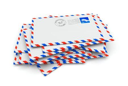 poststempel: Isolated mail Briefumschläge mit Briefmarke und Poststempel Lizenzfreie Bilder