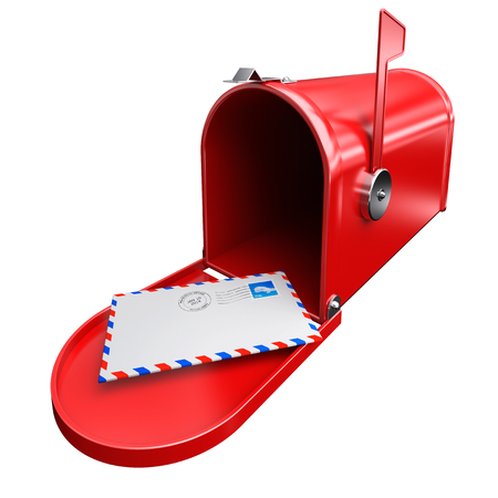 postmark: Red mailbox and a letter envelope mail inbox correspondence with postage stamp and postmark. Stock Photo